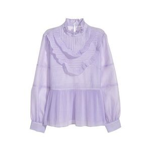 H&M Sheer Lavender Pleated Ruffle Blouse